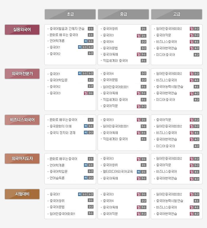중국어 분야별 선택과목 - 하단상세설명