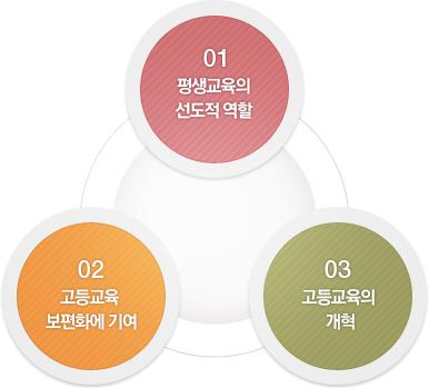 01.평생교육의 선도적 역활 /02.고등교육 보편화에 기여 /03.고등교육의 개혁