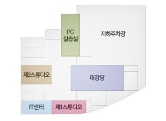 pc실습실, 지하주차장, 대강당, 제2스튜디오, IT센터, 제1스튜디오.