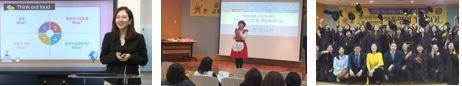 강의중인 교수님사진, 수강생과 함께한 기념사진